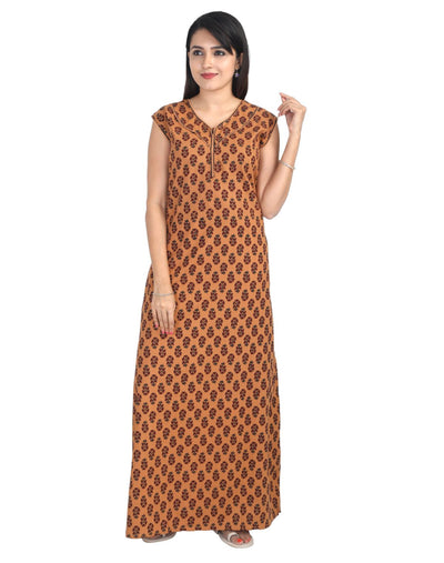 Womens Full Length Jaipuri Cotton Sleeveless Nightie - Front Zip - Slim Fit - Nighty House