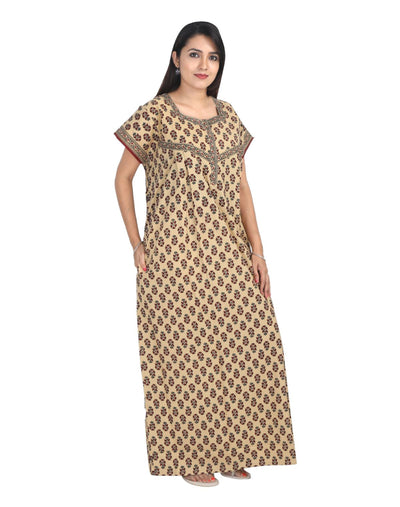 Womens Full Length Jaipuri Cotton Nightgown - Front Zip - Regular Fit - Nighty House