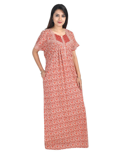 Womens Long Jaipuri Cotton Nightwear - Front Button - Regular Fit - Nighty House