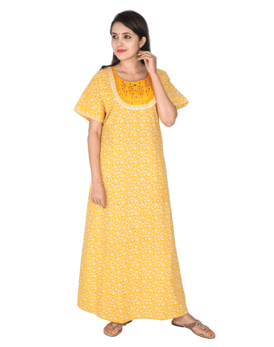 Womens Full Length Premium Cotton Nightgown - No zip - Slim Fit - Neck Embroidered - Nighty House