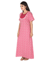 Womens Full Length Premium Cotton Nightgown - No zip - Slim Fit - Neck Embroidered Womens Nighty NK - Kiwi
