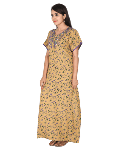 Womens Full Length Alpine Nightwear - Front Button - Regular Fit - Neck Embroidered Womens Nighty NN - Naitree