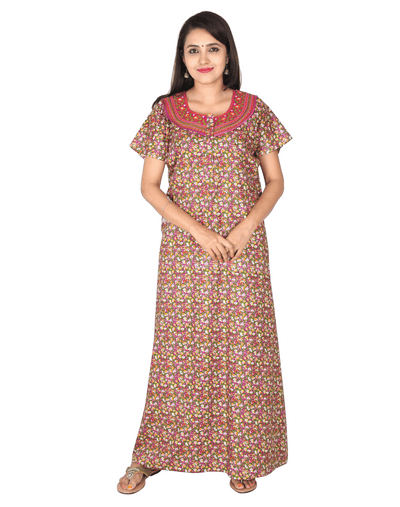 Womens Full Length Premium Bombay Cotton Nightie - Front zip - Slim Fit - Neck Embroidered - Nighty House