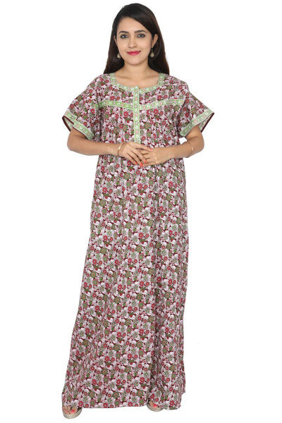 Womens Full Length Cotton Nightgown - Front zip - Nighty House