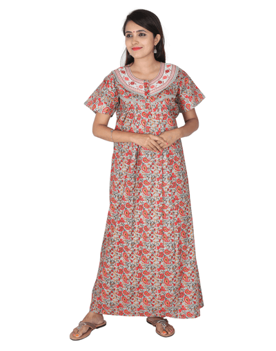 Womens Full Length Premium Bombay Cotton Nightie - Front zip - Regular Fit - Neck Embroidered - Nighty House