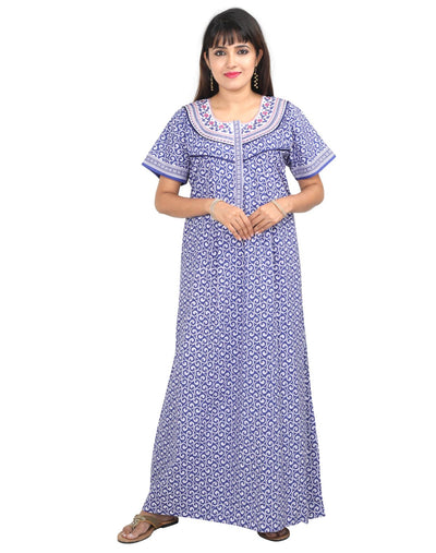 Womens Full Length Premium Cotton Nightgown - Front Zip - Regular Fit - Nighty House