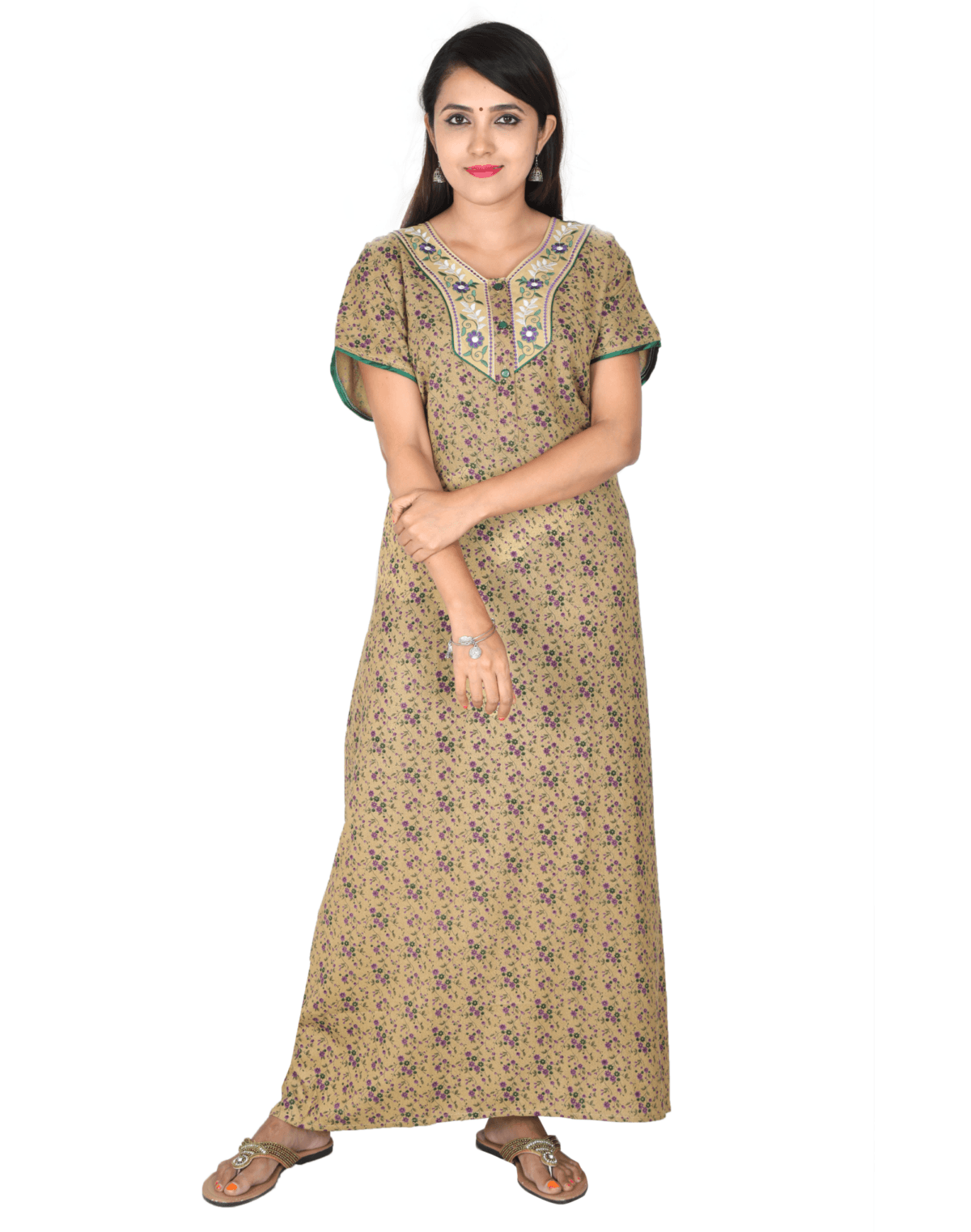 Womens Full Length Alpine Nightwear - Front Button - Regular Fit - Neck Embroidered - Nighty House