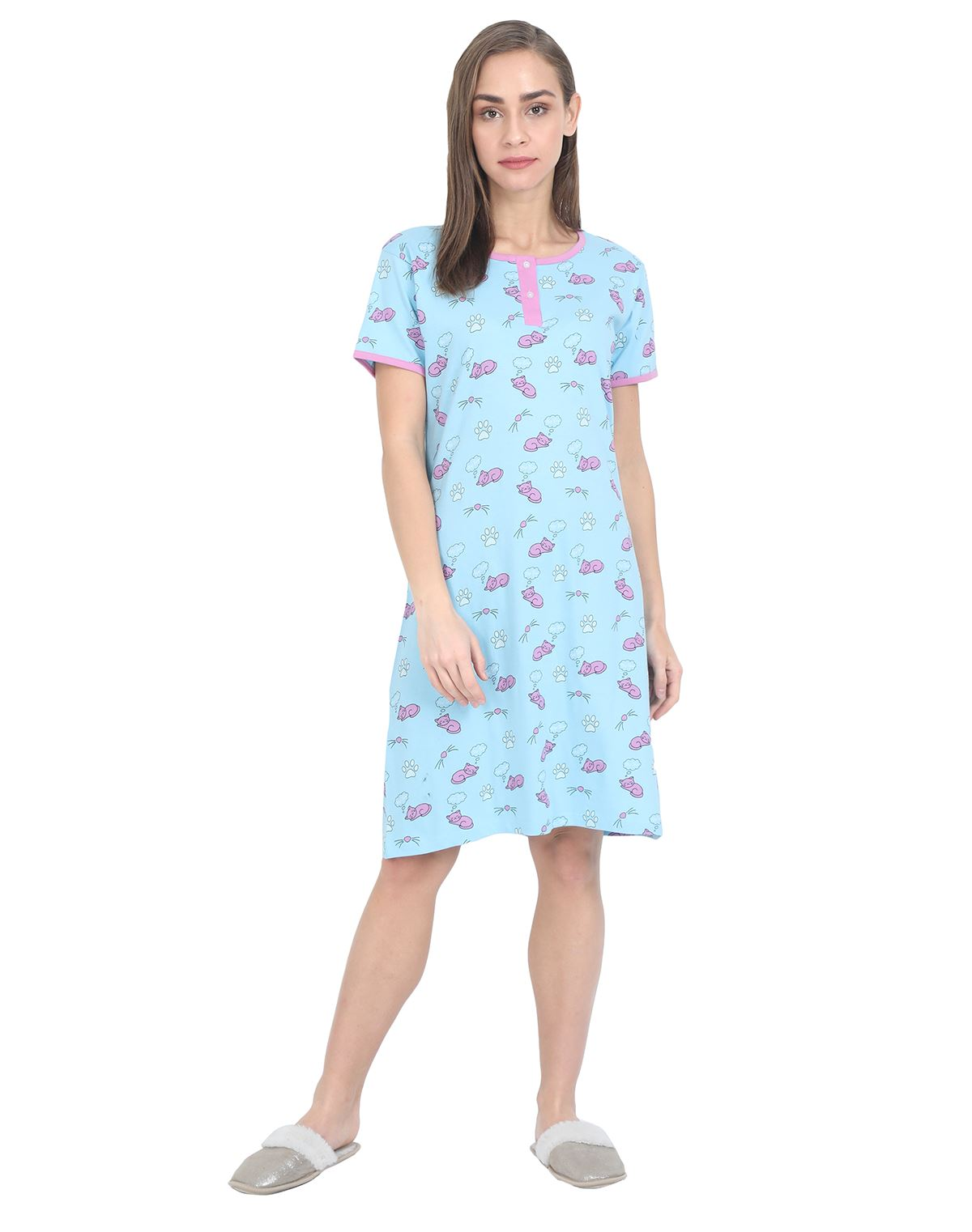 Women's Short Nightgown - 100% Cotton - Blue Womens Nightgown NH - MRS