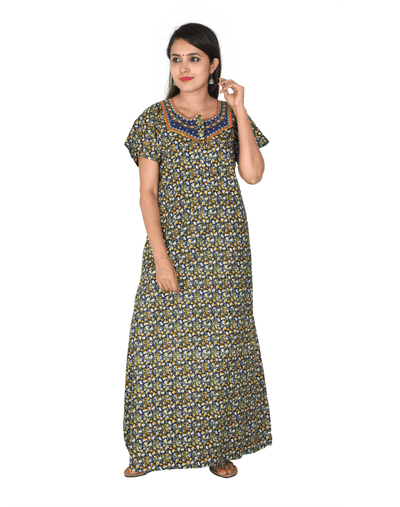 Womens Full Length Premium Bombay Cotton Nightie - Front zip - Slim Fit - Neck Embroidered Womens Nighty NK - Kiwi