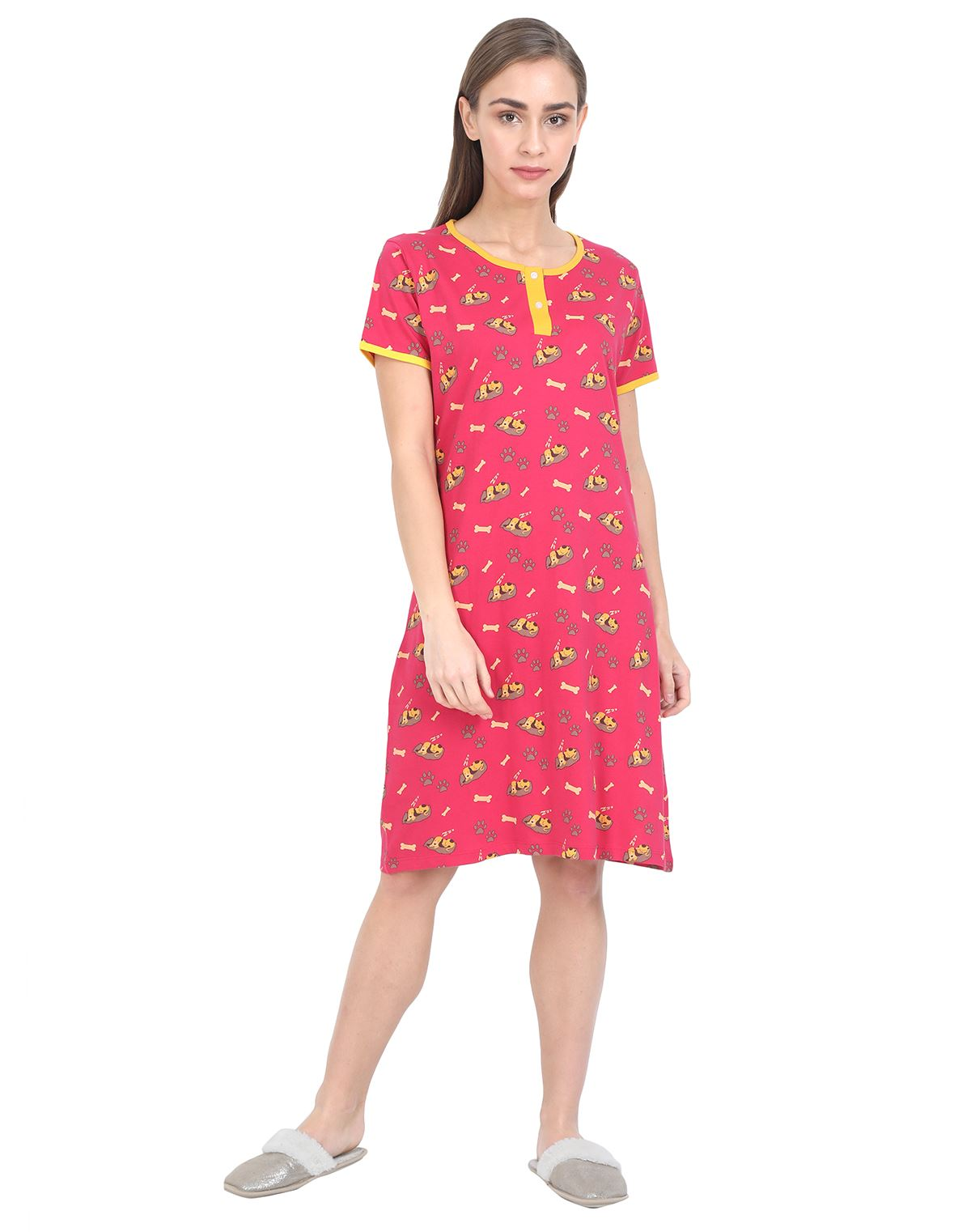 Women's Short Nightgown - 100% Cotton - Rose Red Womens Nightgown NH - MRS