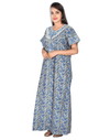 Womens Full Length Premium Bombay Cotton Nightie - Front zip - Regular Fit - Neck Embroidered Womens Nighty NK - Kiwi