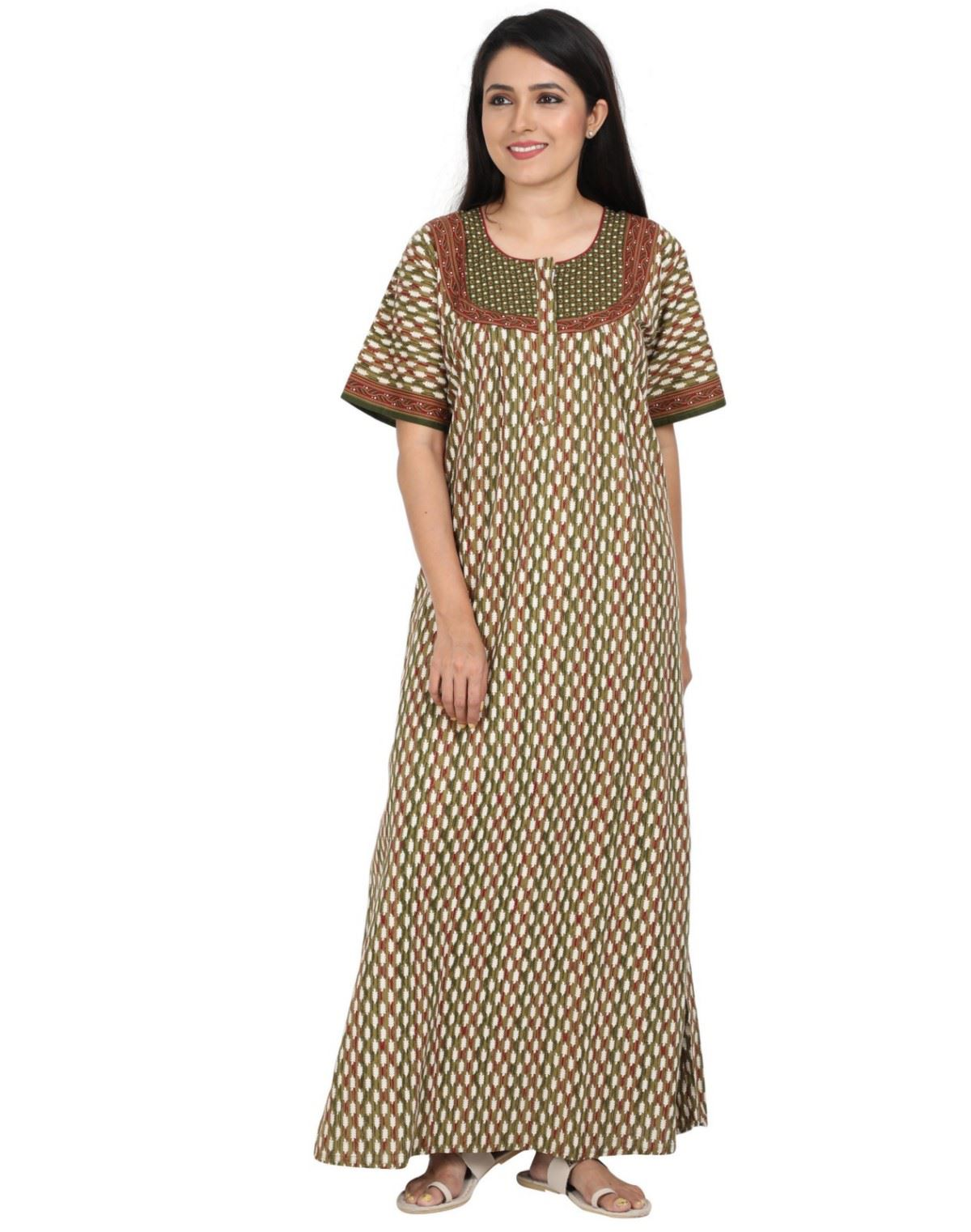 Womens Jaipuri Cotton Nightgown - Slim Fit - Front Zip - Nighty House