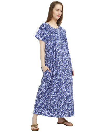 Womens Full Length Cotton Nighty - Front zip - Frilled Nighty - Nighty House