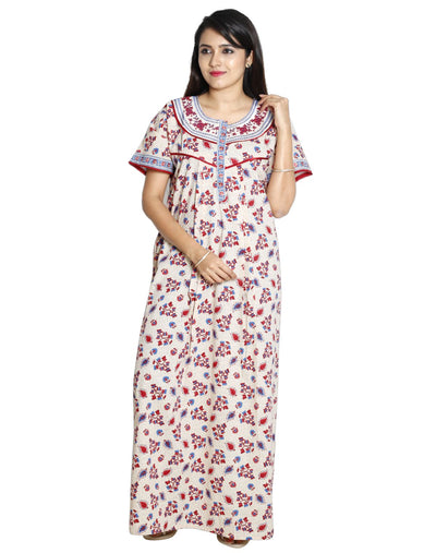 Womens Full Length Jaipuri Cotton Nightwear - Front zip - Regular Fit - Nighty House