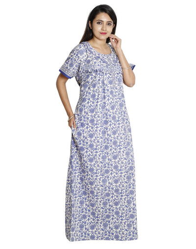 Womens 100% Cotton Feeding Nightgown - Horizontal Zip - Nighty House
