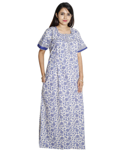 Womens 100% Cotton Feeding Nightgown - Vertical Zip - Nighty House