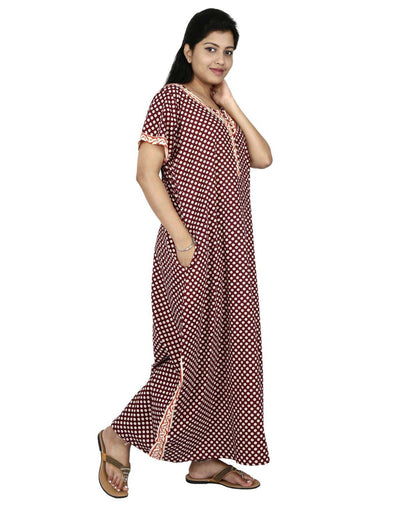 NM Womens Full Length Cotton Nightwear - Front zip