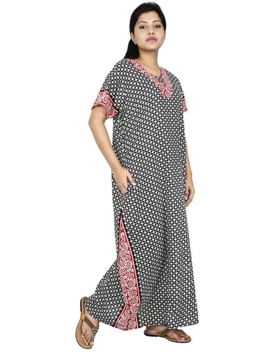 NM Womens Full Length Cotton Nightwear - Even neck - Nighty House