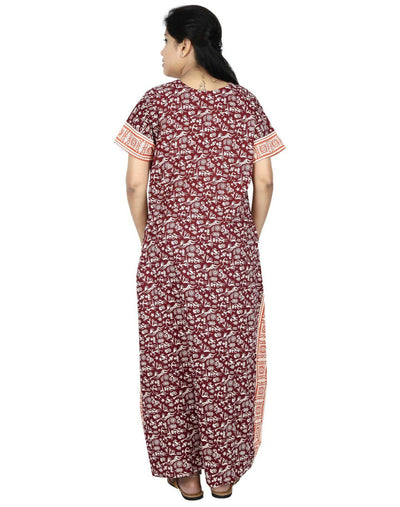 NM Womens Full Length Cotton Nightwear - Front zip - Nighty House