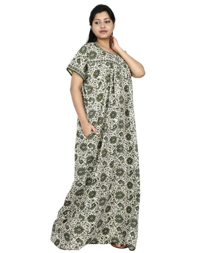 NM Womens Full Length Cotton Nighty - Front Buttons - Nighty House
