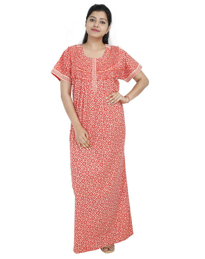 Womens Long Jaipuri Cotton Frill Nightie - Front zip - Regular Fit - Nighty House