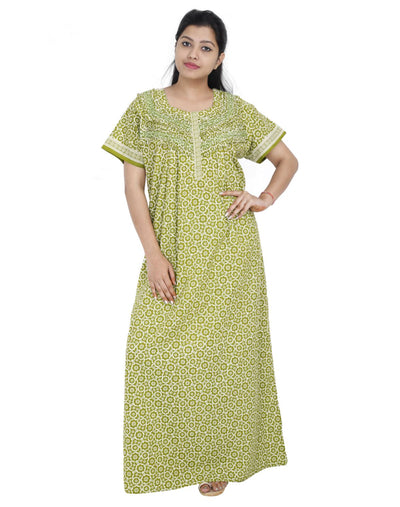Womens Long Jaipuri Cotton Frill Nightie - Front zip - Regular Fit Womens Nighty NH -Sale 1149