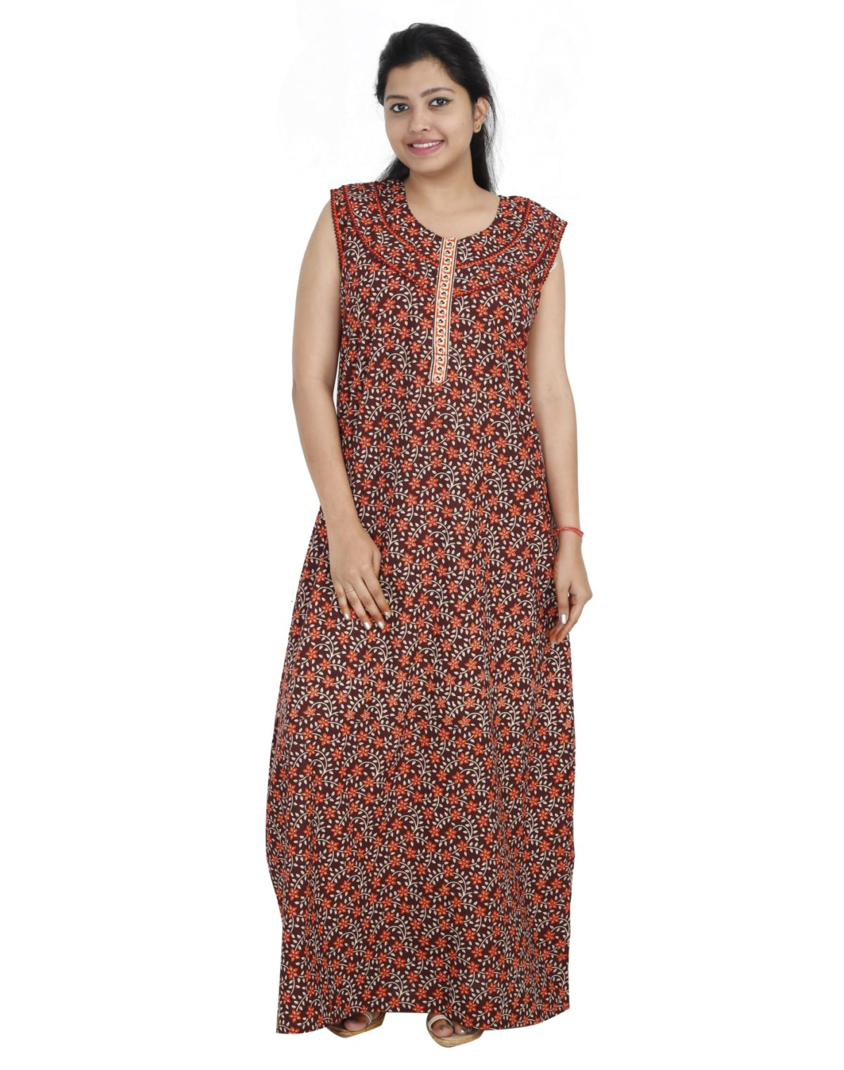 Womens Long Jaipuri Cotton Nightie - Front zip - Slim Fit Womens Nighty SL NH - Nighty House