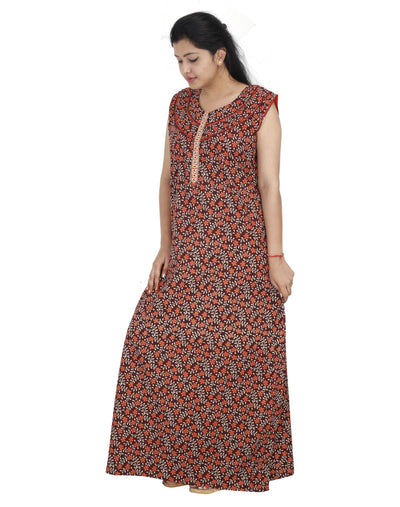 Womens Long Jaipuri Cotton Nightie - Front zip - Slim Fit - Nighty House