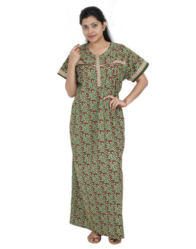 Womens Long Jaipuri Cotton Nightie - Vertical zip - Regular Fit - Nighty House