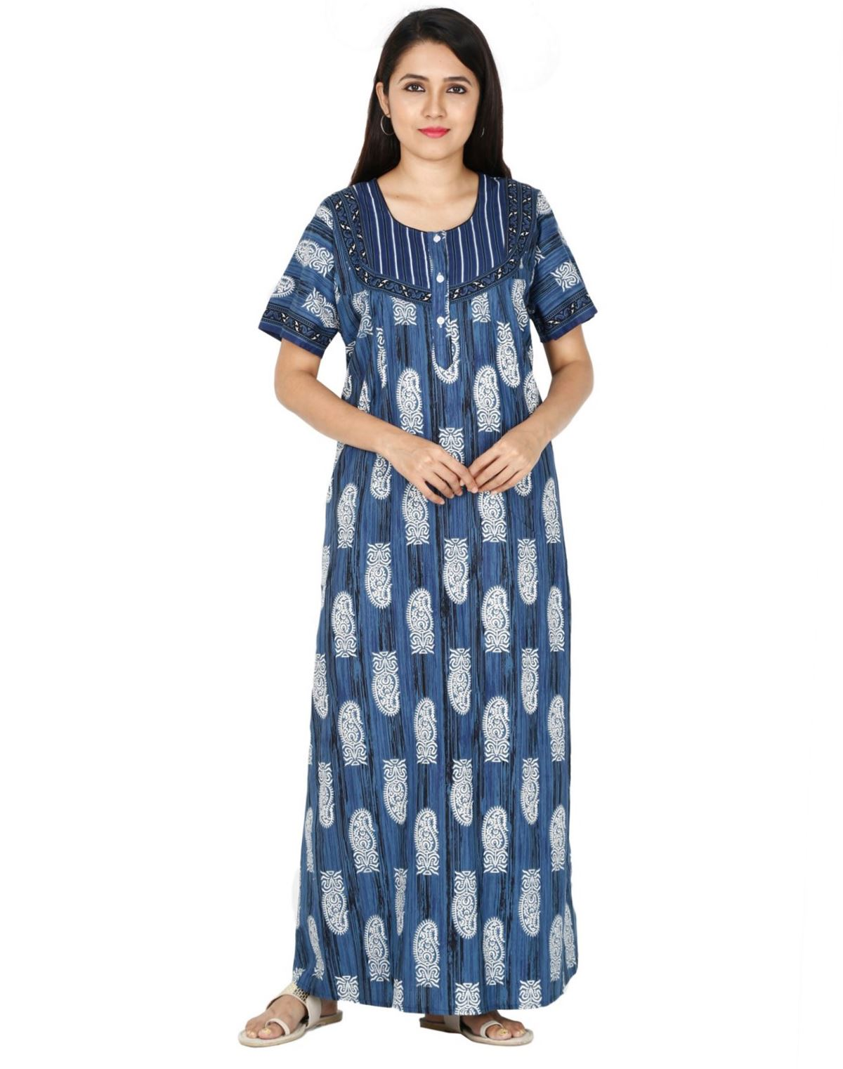 Womens Jaipuri Cotton Nightgown - Regular Fit Womens Nighty NH -Sale 1149