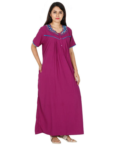 Womens Fancy Nightgown - Alpine Fabric - Regular Fit - Front Button Womens Nighty NK - Kiwi