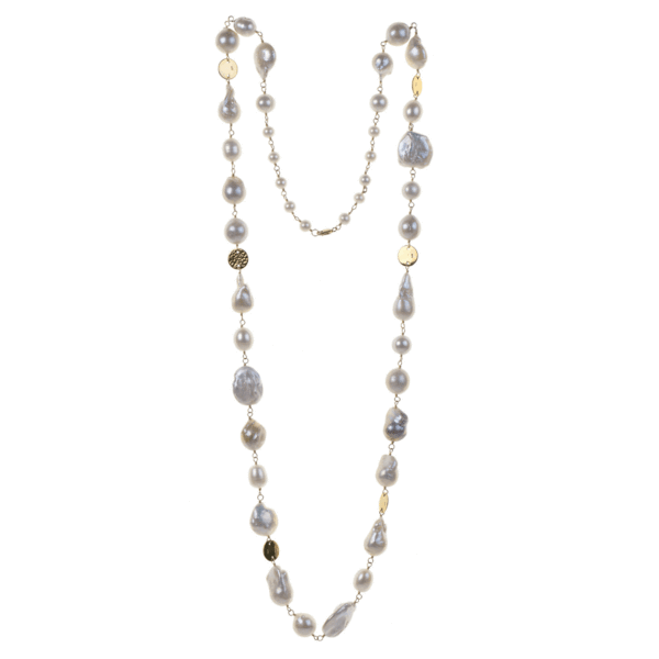 White Baroque Pearl + Gold Fill Necklace - Karlas Jewelry & Gifts