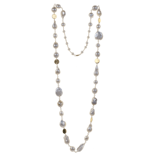 White Baroque Pearl + Gold Fill Necklace