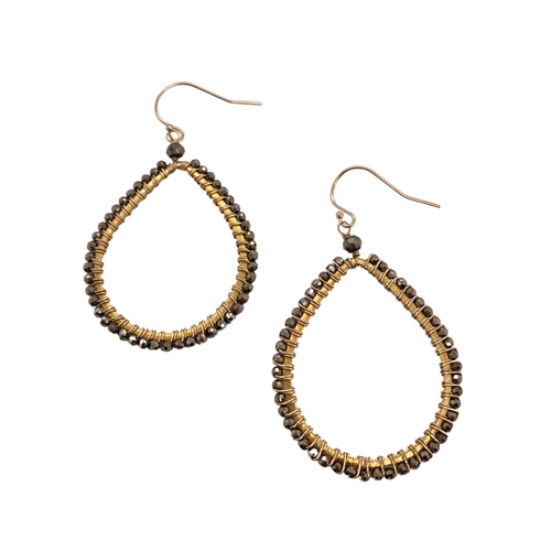 Petite Pyrite Teardrop Earrings