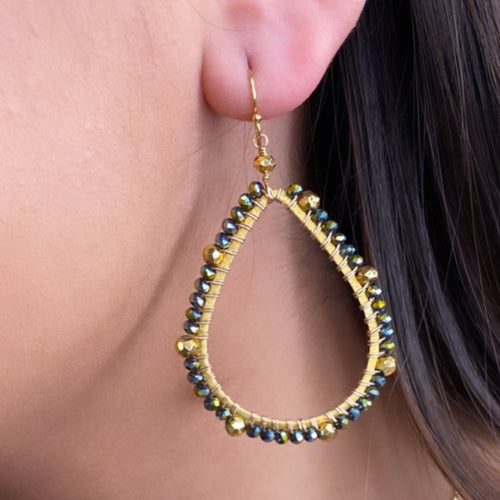Crystal + Gold Tear Drop Earrings