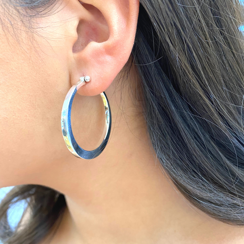 Round Silver Hoops