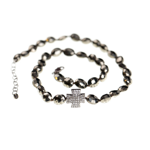Chan Luu Grey Pearl + Swarovski Crystal Single