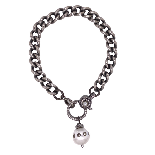 Diamond Lock + Pearl Drop Bracelet