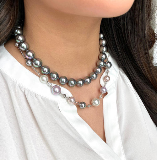 Majorica Classic Grey Pearl Necklace - Karlas Jewelry & Gifts