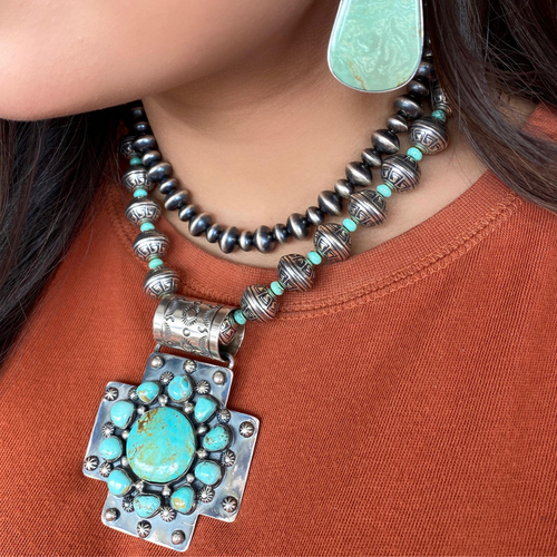 Navajo Pearl + Turquoise Necklace