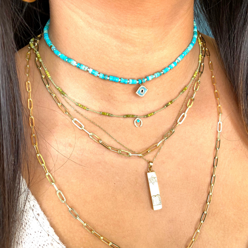 Turquoise + Evil Eye Necklace