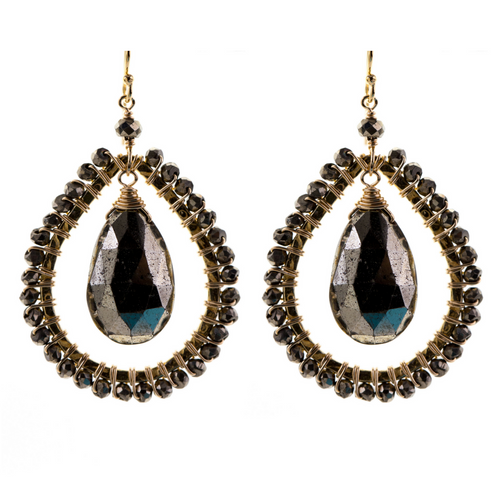 Large Tear Drop Earrings in Pyrite