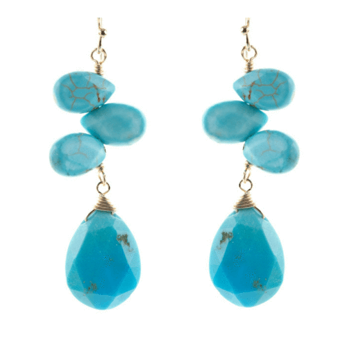Quad Tear Drop Stone Earrings in Turquoise