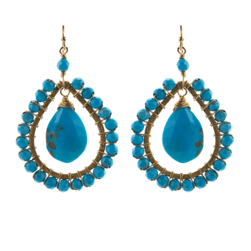 Large Tear Drop Earrings in Turquoise
