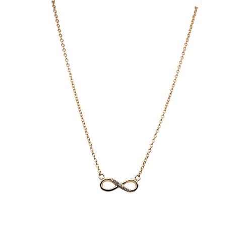 Gold Infinity Necklace + CZ Stones