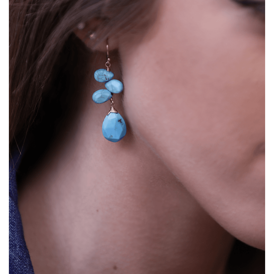 Quad Tear Drop Turquoise Earrings - Karlas Jewelry & Gifts
