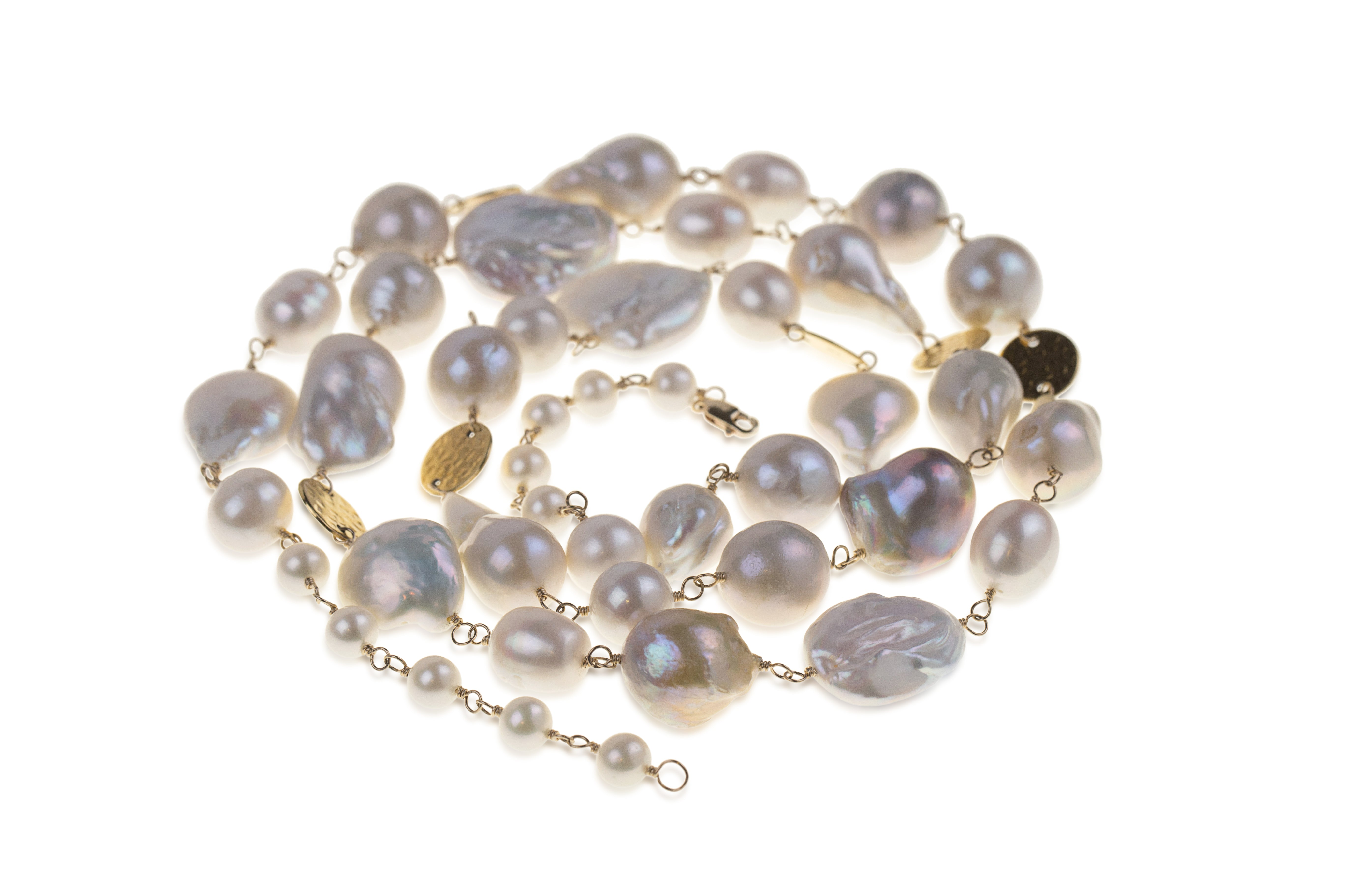 White Baroque Pearl GF Statement Necklace