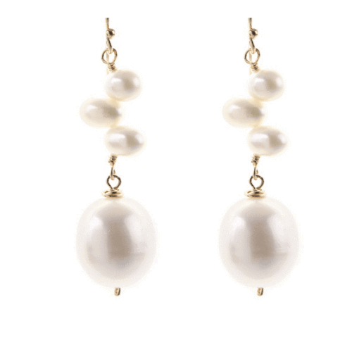 Quad Tear Drop Stone Earrings in Pearl