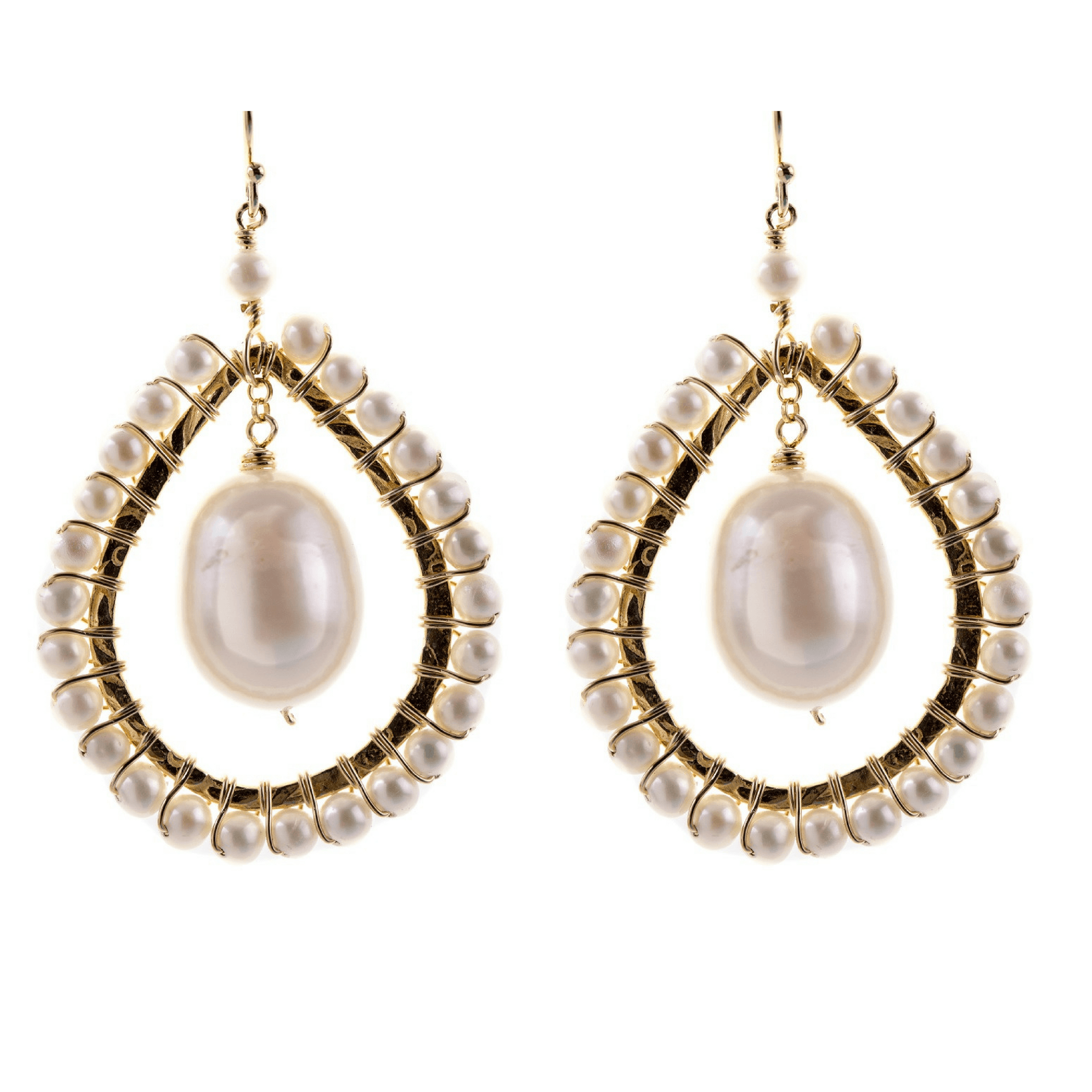 Large Tear Drop Earrings in Pearl - Karlas Jewelry & Gifts