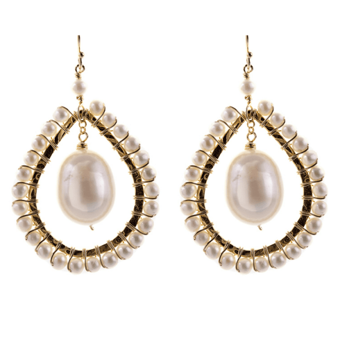 Large Tear Drop Earrings in Pearl